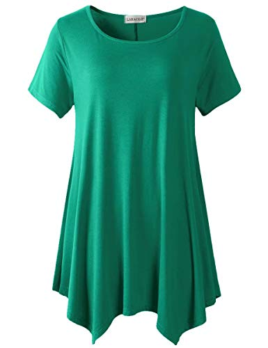 LARACE Womens Swing Tunic Tops Loose Fit Comfy Flattering T Shirt(Deep Green 3X)
