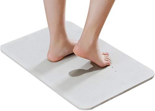 OsTech Bath Mat, Absorbent Diatomaceous Earth, Japanese Design, Nonslip Bathroom Floor Mats for Fast Water Drying, Self-Refreshing Hard Shower Mat (Pack of 2)