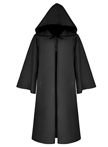 LATH.PIN Umhang mit Kapuze Herren Mittelalter Kleidung Mantel Gotik Ritter Cape Lange Robe Halloween Kostüme Unisex Cosplay Hexe Vampir (Schwarz, L)