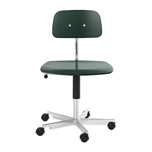 Engelbrechts Kevi 2533 - Silla de oficina (56 x 56 cm, altura del asiento 38-51 cm, estructura de aluminio pulido), color verde