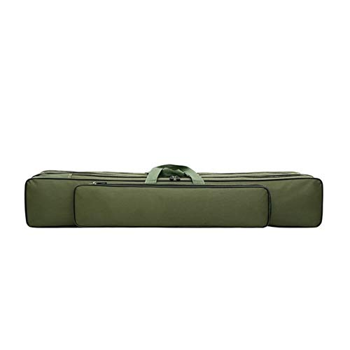 KTESL Tragbare Angelrute Tasche Angelausrüstung Tasche Camping Leinwand Angelrute Beutel-Speicher-Beutel-Schutz-Fischen Tasche Angelrute Tasche (Color : Green 80cm 3 Layers)