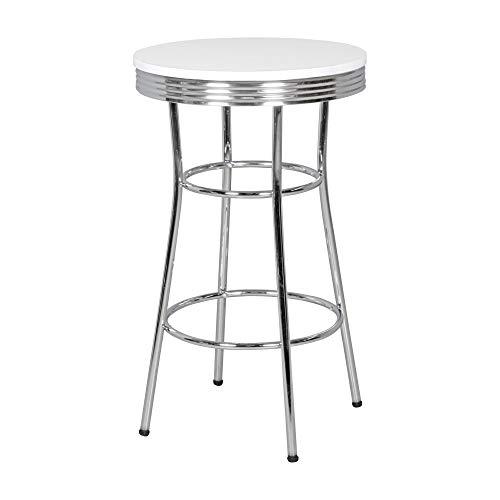 Dastro Design American Diner Bistrotisch Weiß/Alu Retro USA Metall Bartisch Esstisch (Bartisch Ø 60 cm (rund))
