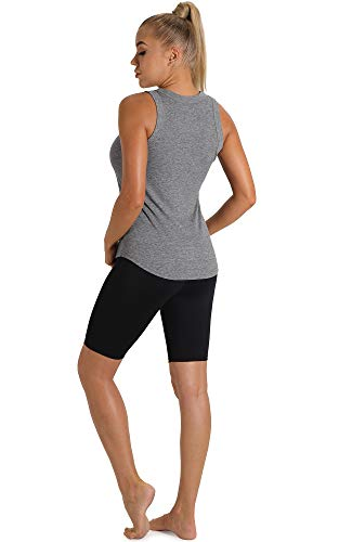 icyzone Workout Tank Tops for Women - Racerback Athletic Yoga Tops, Running Gym Shirts (Pack of 2) (M, Charcoal/Pink)