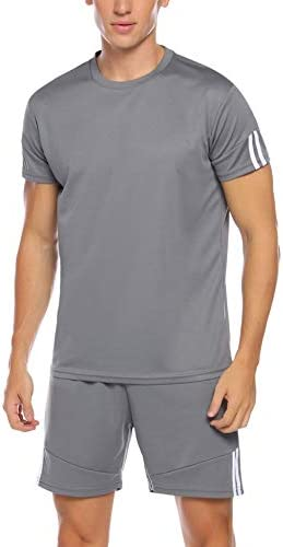 Aibrou Men s Athletic Shirts and Shorts Outfits Short Sleeve Activewear Sports Set Summer Casual product image