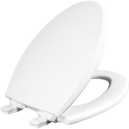Mayfair 1847SLOW 000 Kendall Slow-Close, Removable Enameled Wood Toilet Seat that will Never Loosen, 1 Pack ELONGATED - Premium Hinge, White