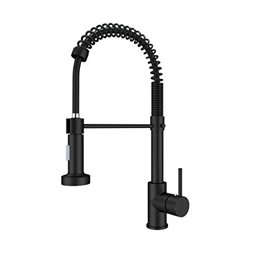 Onyzpily Black Kitchen Taps Kitchen Sink Mixer tap with Solid Brass Commercial Single Handle Single Hole Pull Down Sprayer Swivel Sprayer Mixer Tap Cold and hot Fittings UK Standard
