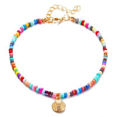 HETHYAN Tobilleras bohemias para mujer, cuentas de color dorado, para verano, playa, playa, tobillo, joyería para pies (color metálico: estilo B)
