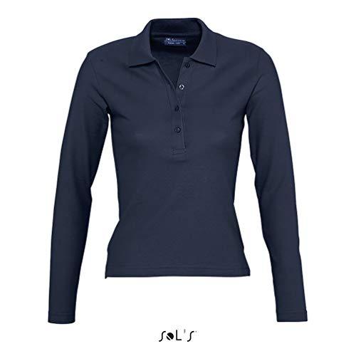 Sols - Podium - Damen Poloshirt Langarm , Navy , S