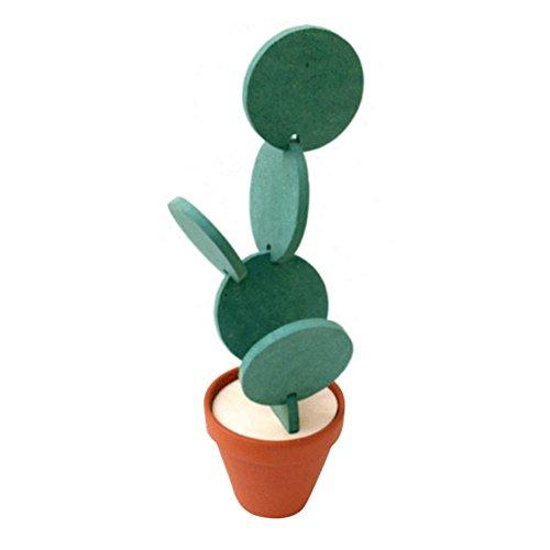 ESHOO 6 Pcs DIY Creative Artificial Cactus Round Cup Coaster Tapis Isolant Thermique pour Bureau à Domicile Décor