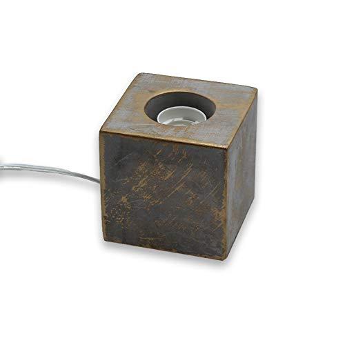 Lámpara base de sobremesa cuadrada de cemento (efecto tiza E27 con cable 1,5m)