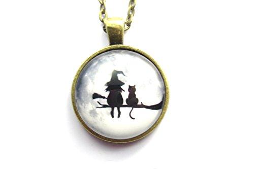 Hexe mit Katze Motiv Cabochon Kette 60 cm Damen Modeschmuck bronzefarben