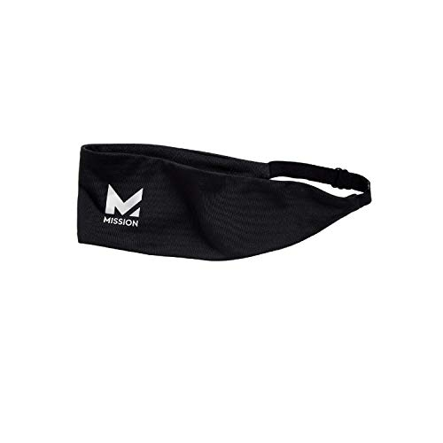 MISSION Cooling Lockdown Headband- Cools Instantly When Wet, UPF 50, Adjustable- Black
