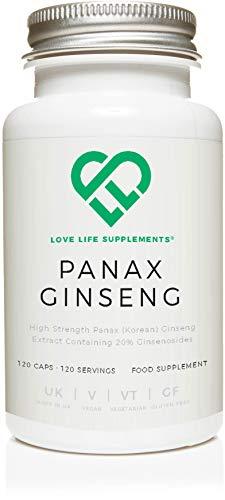 Love Life Supplements - Panax Koreanischer Ginseng, 10:1 Extrakt, Hochdosiert, 20% Ginsenosid, 120 Kapseln
