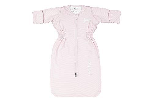Puckababy - Baby-Schlafsack 0-6 Monate - Bag Newborn - Ganzes Jahr - 0.5 TOG - Abnehmbare Ärmeln - Baumwolle - Pink Stripe/Rosa
