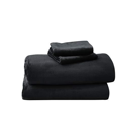 Cozy Fleece Comfort Collection Velvet Plush Sheet Set, Twin, Black, 1 Sheet Set