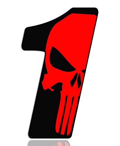 Biomar Labs® Número 1 Punisher Calavera Vinilo Adhesivo Pegatina Coche Auto Motocross Moto Sport Start Racing Tuning N 351