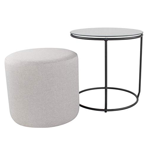 i-flair Nachttisch Beistelltisch mit Hocker Jasper runder Couchtisch und Pouf 40x40 cm N7 Grau - Schwarz - Grau