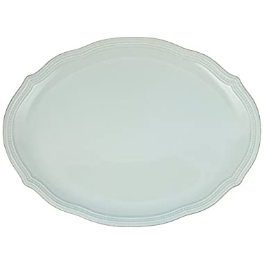 Lenox French Perle Bead Oval Platter, Ice Blue