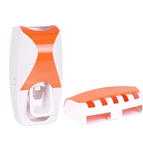 Toothbrush Holder Automatic Toothpaste Dispenser Set Dustproof with Super Sticky Suction Pad Wall Mounted Kids Hands Free Toothpaste Squeezer for Family Washroom,Orange