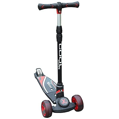 WHOJS Patinete Scooter para niños Plegable de Tres Ruedas con Barras de Mango Ajustables adecuadas para niños a Partir de 6 años y Adultos hasta 90 kg Construcción Ligera(Color:Rojo)