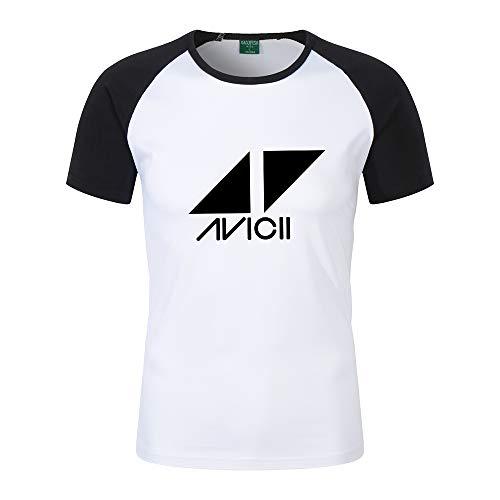 DJ Avicii Camiseta Mejor Venta Camiseta de Manga Corta de Color sólido Camiseta de Manga Corta con Cuello Redondo Clase Camiseta Personalizada Camiseta (Color : Black01, Size : M)