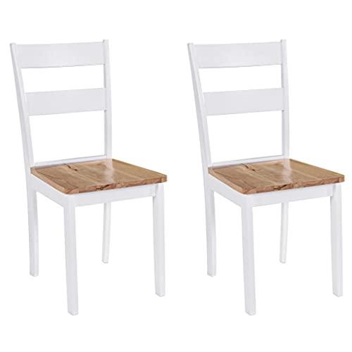 vidaXL 2X Gummiholz Massiv Esszimmerstuhl Essstuhl Küchenstuhl Stuhl Set Stühle Wohnzimmerstuhl...