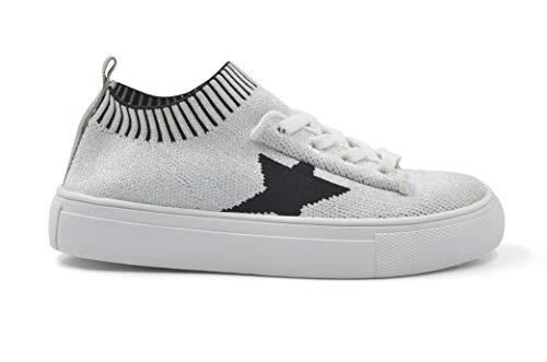 HOO Kelly Star Knit Sock Sneaker Silver - Black