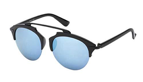 Chic-Net Sonnenbrille Retro Brille 400 UV Metall Zwicker Form unten frameless schwarz blau