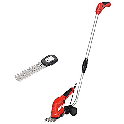 Goplus 7.2V Cordless Grass Shear + Hedge Trimmer w/Wheeled Extension Pole and Rechargeable Battery