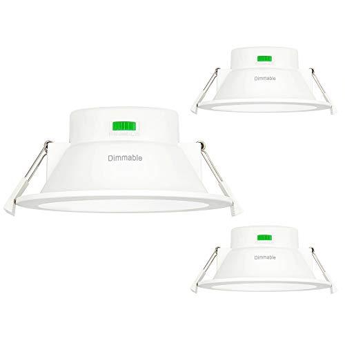 Lamparas Plafon Focos Empotrables LED de Techo 12W Regulable Brillo Alto para Baños Cocina Luz Calida y Fria Ajustable 220V-240V Diámetro de Agujero Techo 120-140MM Lot de 3 de Enuotek