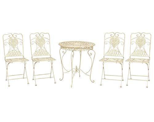 aubaho Mesa y 4 sillas Mesa de Bar de Hierro Blanco Marfil Muebles de...