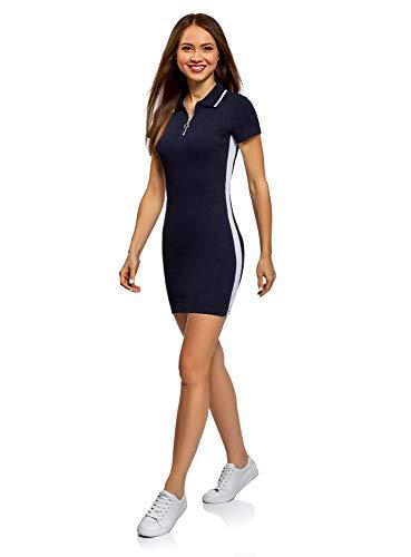 oodji Ultra Damen Enges Kleid mit Kontrastkragen, Blau, DE 34 / EU 36 / XS