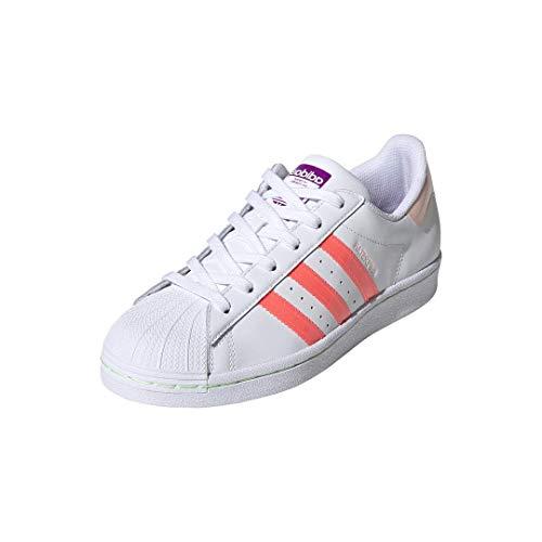 adidas Originals Superstar Tenis para mujer, Blanco (Blanco/Rosa/Púrpura Shock), 36.5 EU