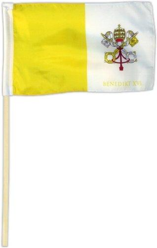 Fahne Flagge Vatikan - Papst Benedikt 30 x 45 cm mit Stab