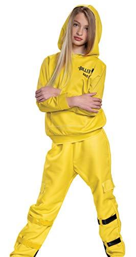 Disfraz de Billie Eilish, camiseta y pantalones oficiales amarillos de gran tamao para nios, traje inspirado en artistas musicales, tamao pequeo (4-6x)