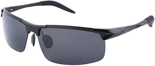 Occhiali da Sole Uomo - polarizzati Occhiali Sportivi - Che Guida i vetri con Struttura in Metallo - 100% Anti UV400 - Nero 2102S