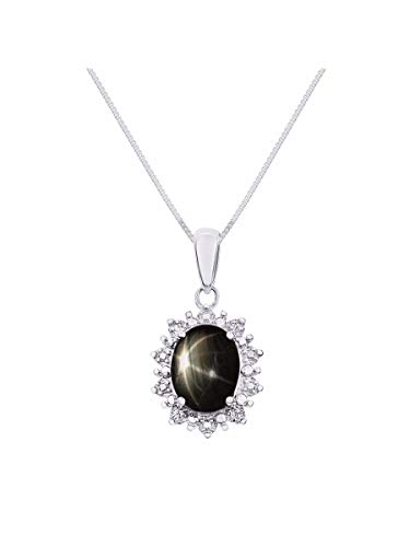 RYLOS Necklaces for Women Sterling Silver Princess Diana Inspired Necklace Gemstone & Diamonds Pendant 18' Chain 9X7MM Black Star Sapphire March Birthstone Womens Jewelry Gold Necklaces For Women