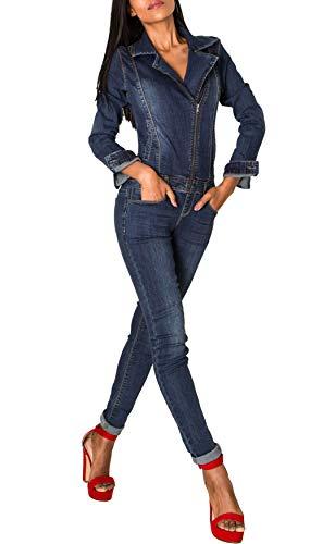 EGOMAXX Damen Jeans Anzug Overall Biker Jumpsuit Hosenanzug Einteiler Asymmetrisch, Farben:Dunkelblau, Größe:40 / L