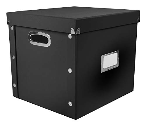 Snap-N-Store SNS01790 Vinyl Record Storage Case with Lid, Holds up to 75 Records, 13.375 x 12.625 x 12.5 Inches, Black
