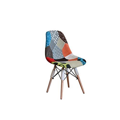 X-LSWAB Silla de salón Retro Remiendo de Tela sillas de Comedor con Patas de Madera for Oficina Salón Kitchen Esta Sofá Perfectamente complementa Moderno y Elegante Interiores (Color : A)