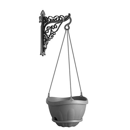 Pflanzenampel Blumenampel Hängeampel mit Kette und Wand Halterung Wasserspeicher grau
