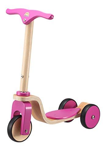BIKESTAR Original Kinder Scooter Tretroller für natürliche Spielfreude ab 3 Jahre ★ Natur Holz Edition ★ Bezaubernd Berry