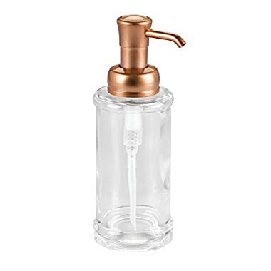 InterDesign Hamilton Glass Soap & Lotion Dispenser Pump for Kitchen or Bathroom Countertops, Clear/Copper