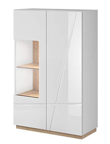 Furniture24 Vitrine Futura FU-05, Highboard, Hochschrank, Wohnzimmerschrank, Vitrinenschrank mit 2 Türen und LED Beleuchtung