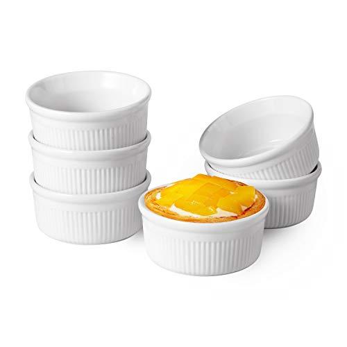 ComSaf Auflaufförmchen Porzellan Weiß, 175ml Backförmchen für Souffle, Creme Brulee, Pudding, Nachtisch Schälchen 6er-Set