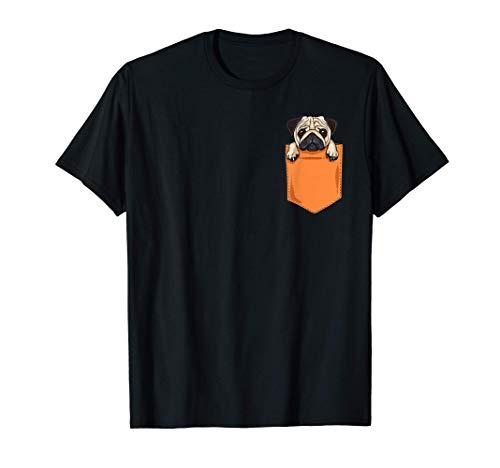 Cute Kawaii Pug Dog In Pocket Dogs Lover Anime T-Shirt Camiseta