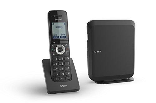 Snom M215 Singlecell IP-DECT-Paket, Schnurlos Set, DECT IP telefon + Basisstation (M15 Mobilteil, M200 Basisstation, Bis zu 6 Mobilteile, Bis zu 4 gleichzeitige Anrufe, PoE-Betrieb), Schwarz, 00004365