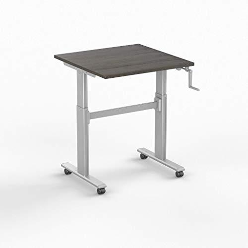 Worktrainer Kleiner Sitz-Steh-Schreibtisch SteelForce 100 - Handkurbel und Rollen (Silber/Eiche Braun 80 x 80cm)