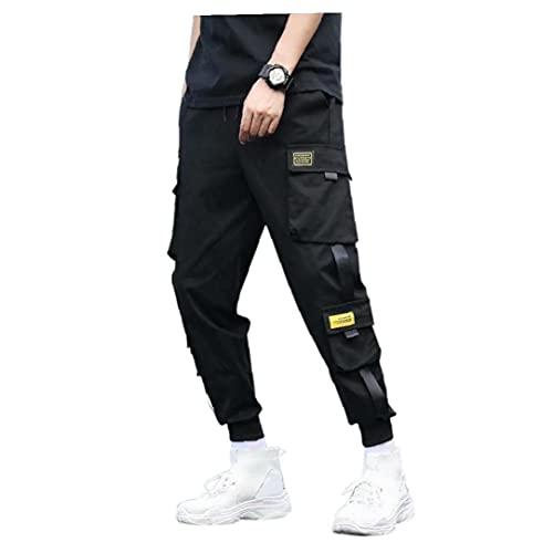 Tuimiyisou Pantalones Cargo de los Hombres del Deporte del Bolsillo de pantalón Joggers Hiphop Punk Pantalones Streetwear(por Favor suba una o Dos Tallas)
