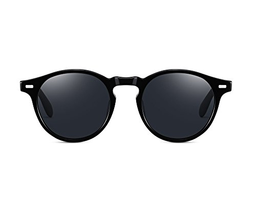 EyeGlow Occhiali da sole rotondi vintage Occhiali da sole da donna Occhiali da uomo con lenti polarizzate S5187 (nero grigio)